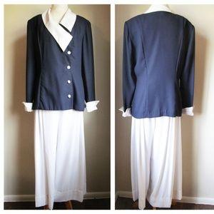 Vintage '80s Navy & White 2pc Palazzo Pant Suit